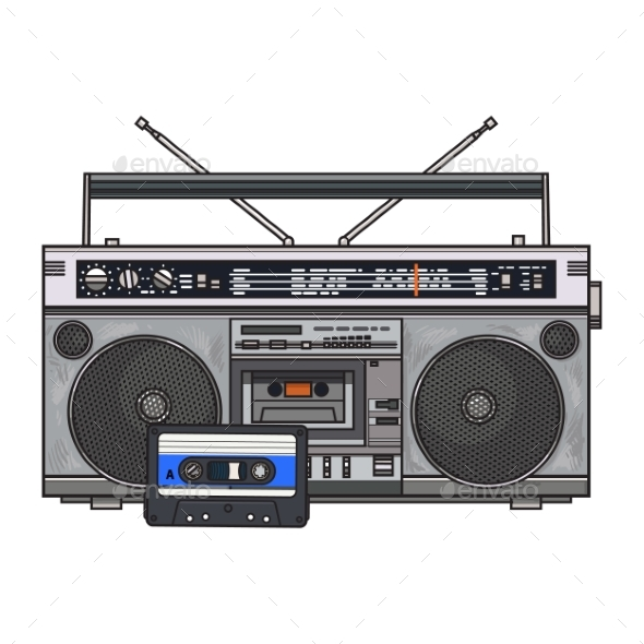GraphicRiver Audio Tape Recorder Ghetto Boom Box and Audiotape 20314805