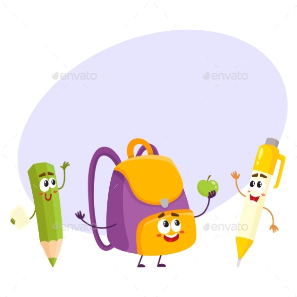 Funny Smiling Pen, Pencil, Backpack Characters - Miscellaneous Vectors