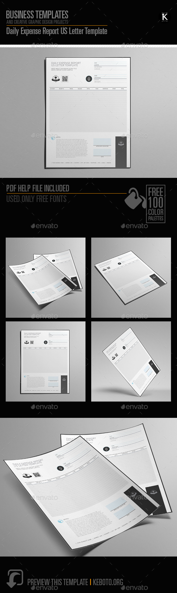 Daily Expense Report US Letter Template by Keboto | GraphicRiver
