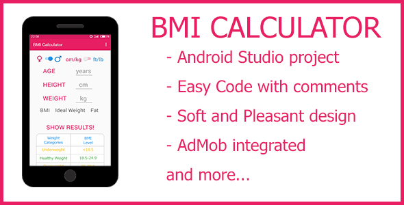 BMI Calculator - Android Studio + AdMob - CodeCanyon Item for Sale