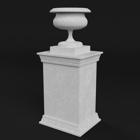 Garden stone Urn Vase on pedestal - 3DOcean Item for Sale