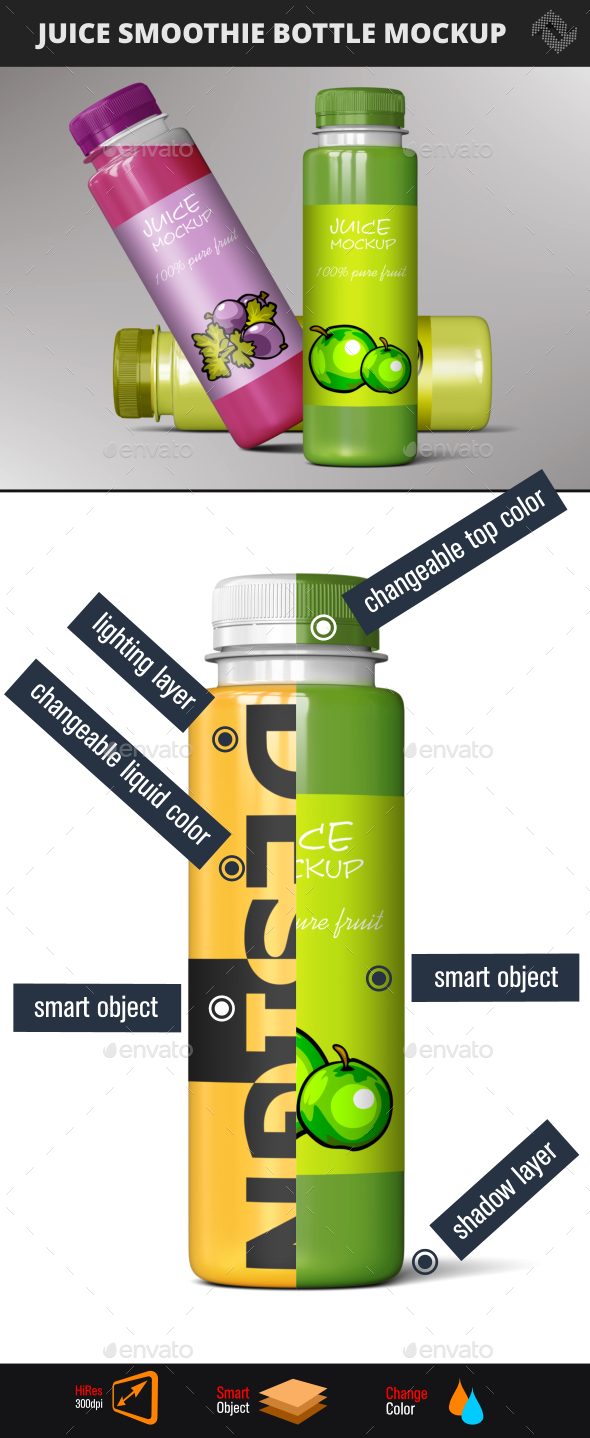 Smoothie Juice  Bottle Mockup - Food and Drink Packaging