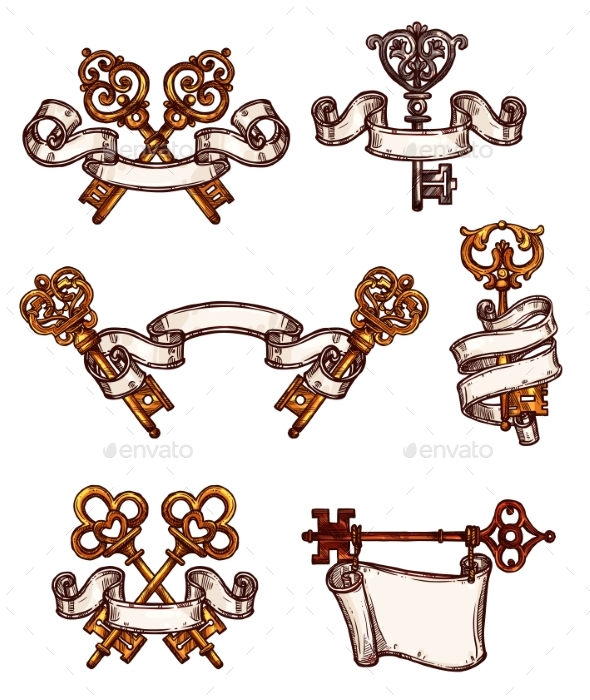 Vintage Keys Vector Icons Sketch Decor Set - Objects Vectors