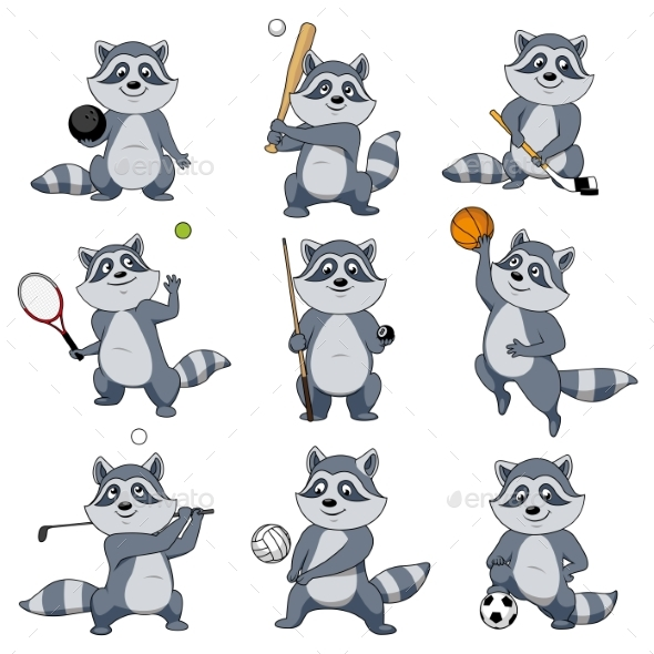 Cartoon Raccoon Play Sports Vector Mascot Icons - Animals Characters