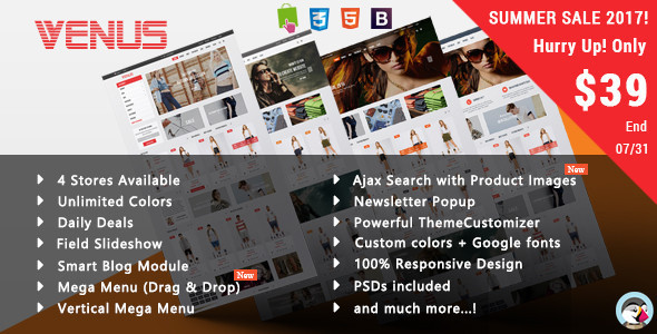 Venus - Tshirt Shop Responsive Prestashop Theme - Fashion PrestaShop