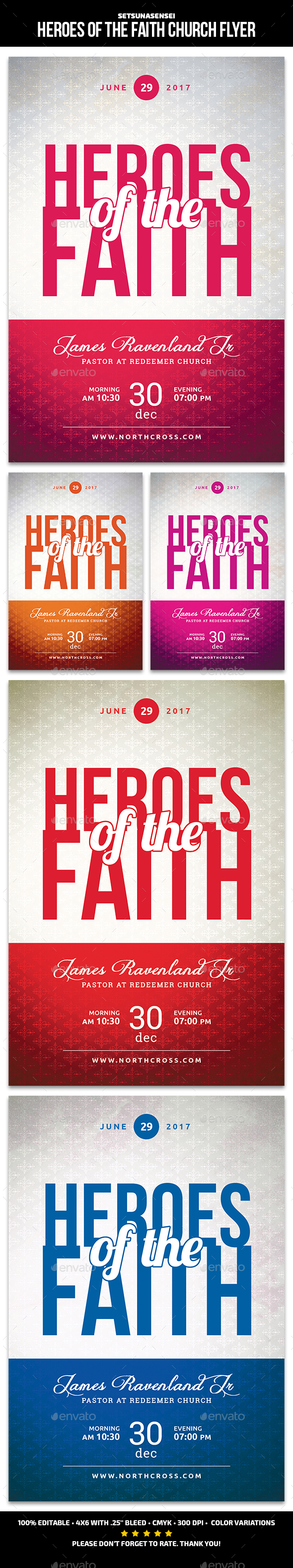 GraphicRiver Heroes of the Faith Church Flyer 20315663