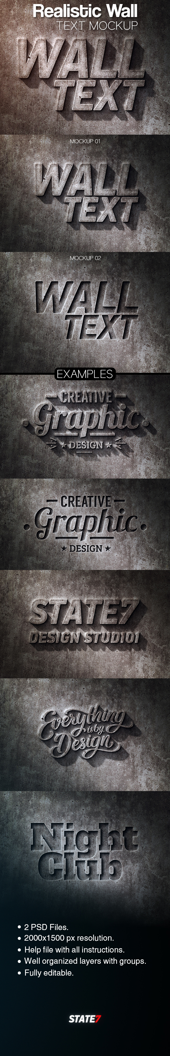 Realistic Wall Text Mockup - Text Effects Actions