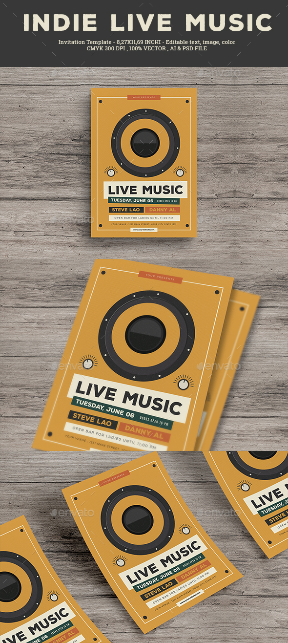 Indie Live Music Flyer - Concerts Events