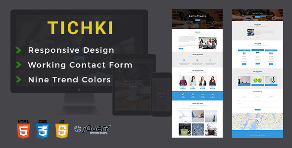 Tichki-Onepage Multipurpose Template - Corporate Site Templates