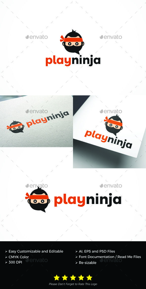 Play Ninja logo - Symbols Logo Templates