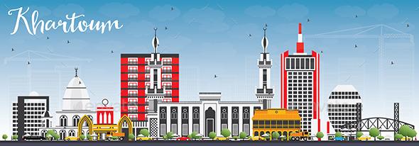 Khartoum Skyline with Gray Buildings and Blue Sky. - Buildings Objects