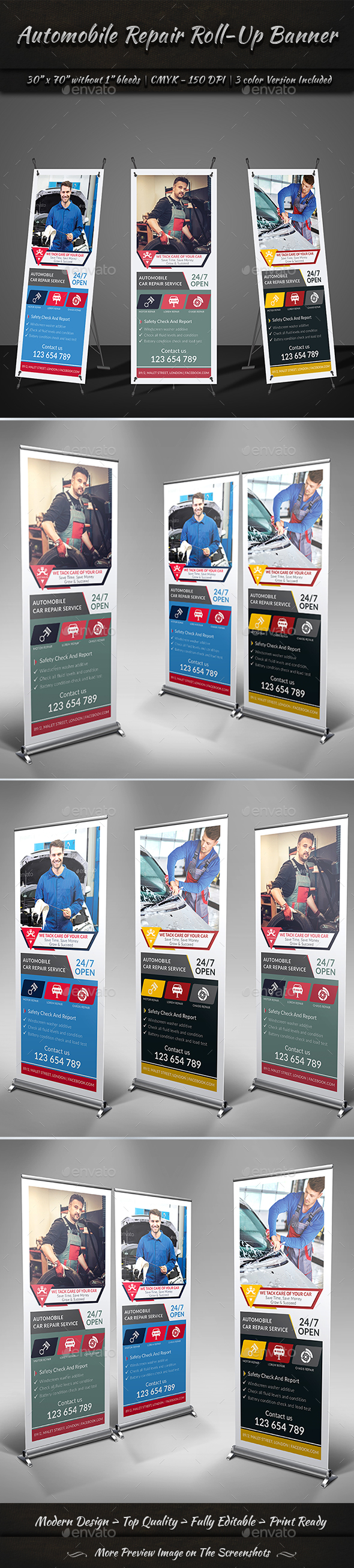 Automobile Repair Roll-Up Banner Template - Signage Print Templates