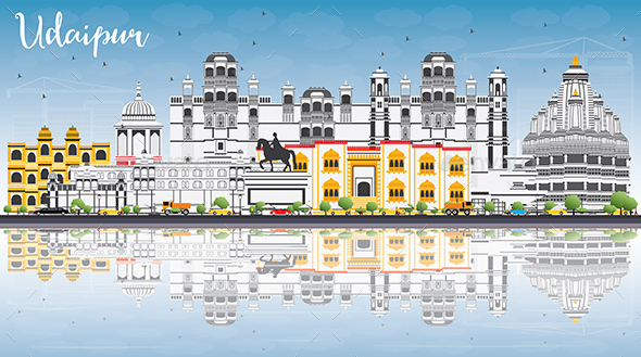 Udaipur Skyline with Color Buildings, Blue Sky and Reflections. - Buildings Objects