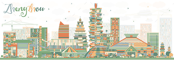Abstract Zhengzhou Skyline with Color Buildings. - Buildings Objects