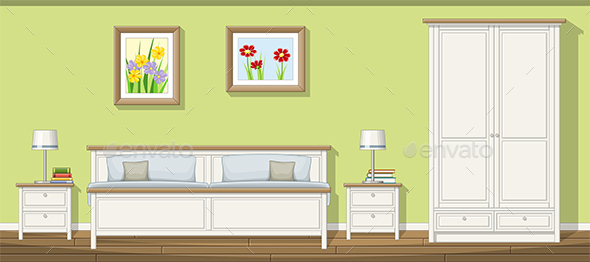 Illustration of a Classic Bedroom - Miscellaneous Vectors