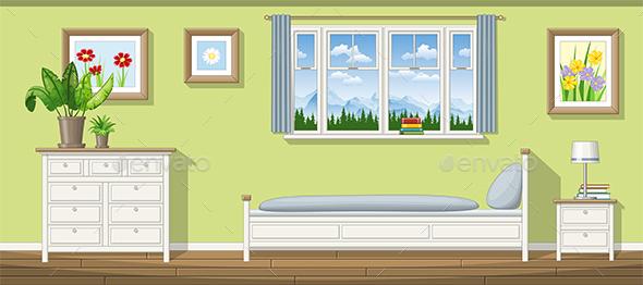Illustration of a Classic Bedroom - Miscellaneous Vectors