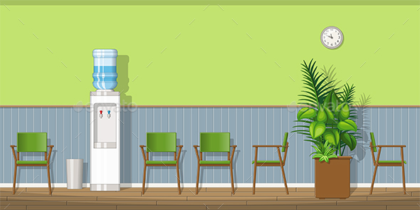 Illustration of a Waiting Room with Chairs - Health/Medicine Conceptual