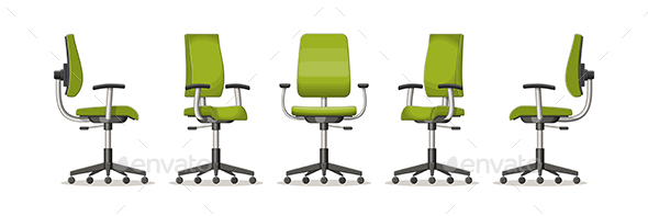 Illustration of an Office Chair in Different Perspectives - Man-made Objects Objects