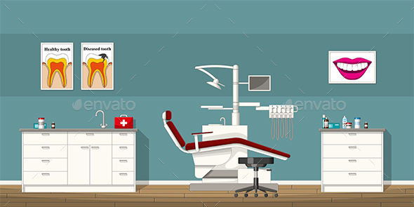 Illustration of a Dentist Room - Health/Medicine Conceptual