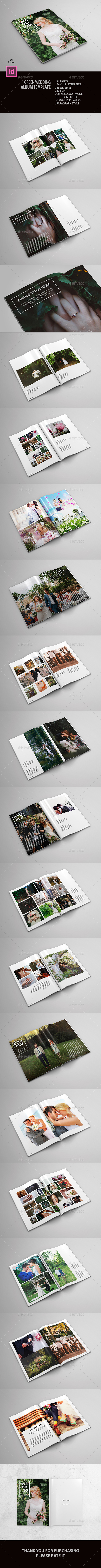 Green Wedding Album - Photo Albums Print Templates