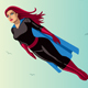 Super Heroine Flying in Sky - GraphicRiver Item for Sale