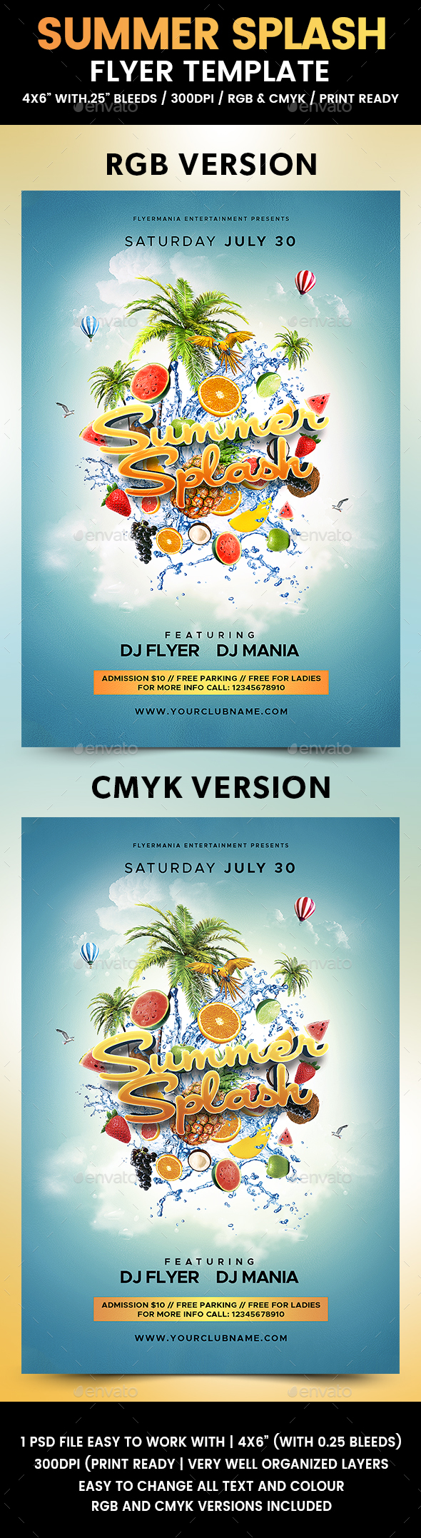 Summer Splash Flyer Template - Clubs & Parties Events