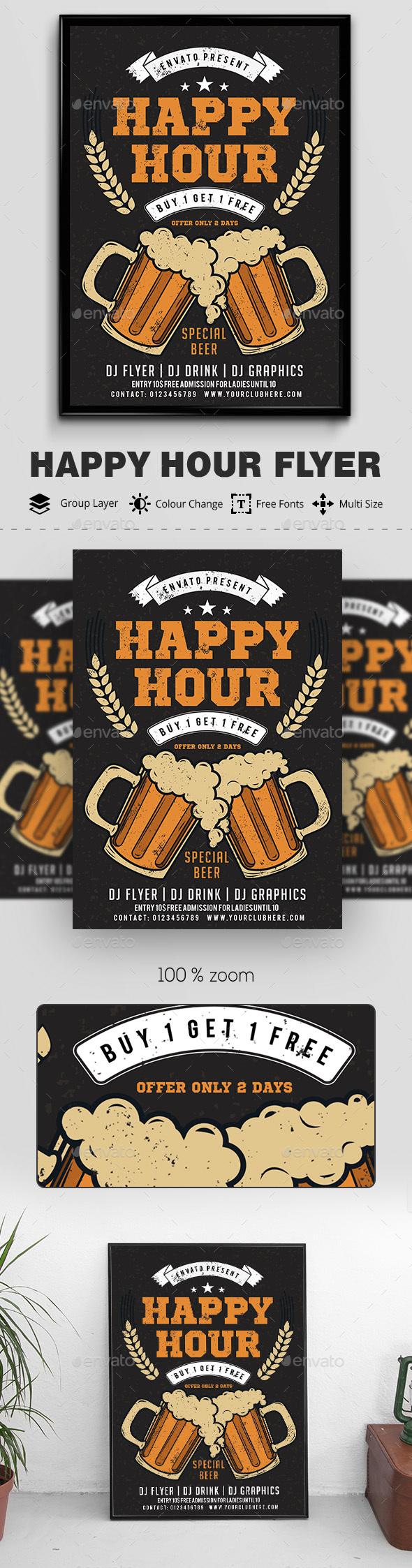 Beer Happy Hour Flyer - Clubs & Parties Events