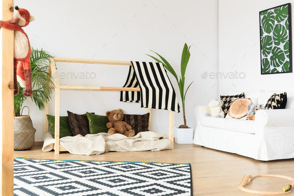 Wooden bed for kids - Stock Photo - Images