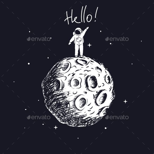 GraphicRiver Astronaut on Moon and Welcomes Us 20316668