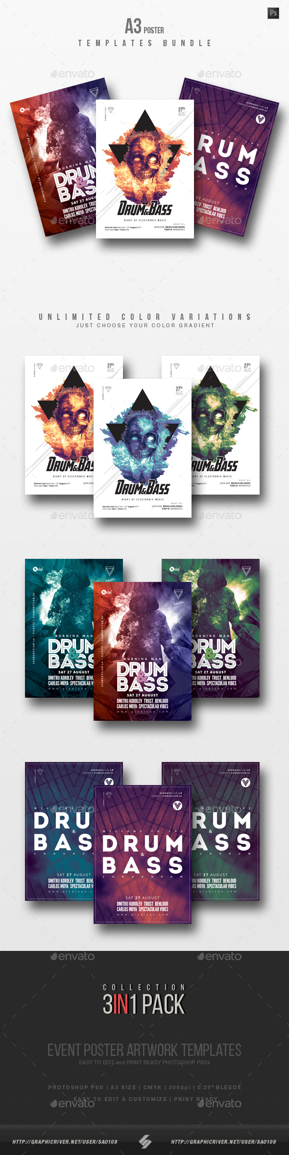 Drum and Bass Party Flyer / Poster Templates Bundle - Clubs & Parties Events