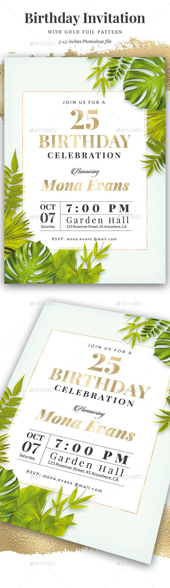 Green / Gold Birthday Invitation - Cards & Invites Print Templates