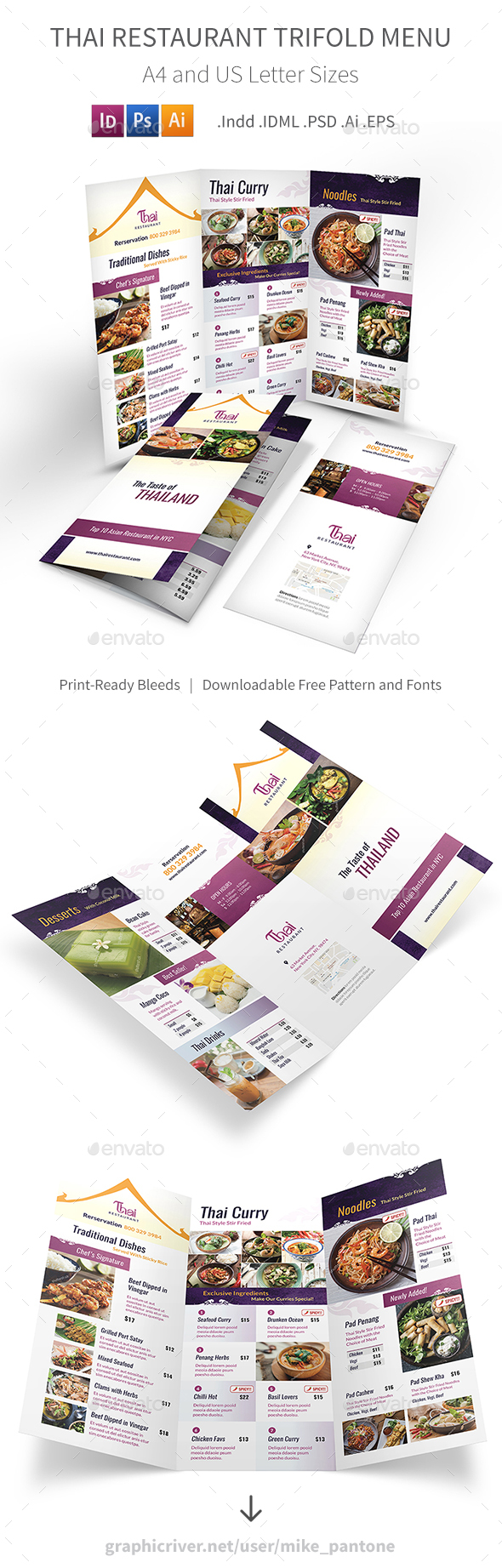 Thai Restaurant Trifold Menu 4