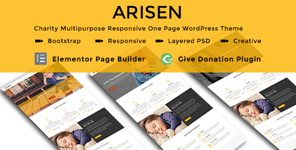 ARISEN - Charity Multipurpose Responsive One Page WordPress Theme - Charity Nonprofit