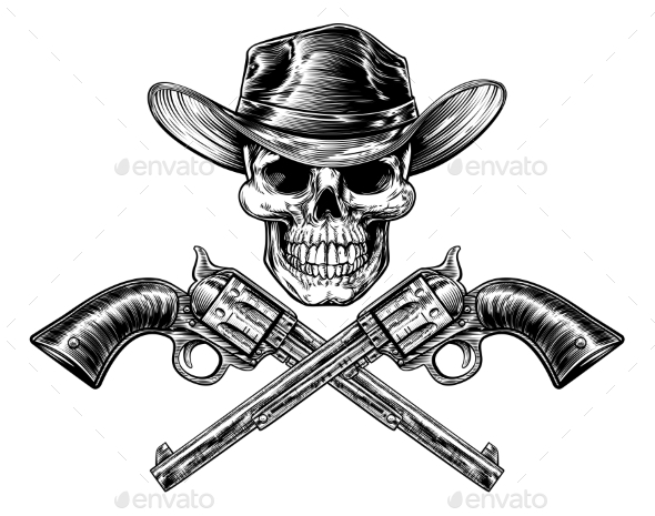 GraphicRiver Sheriff Star Hat Skull and Pistols 20317511