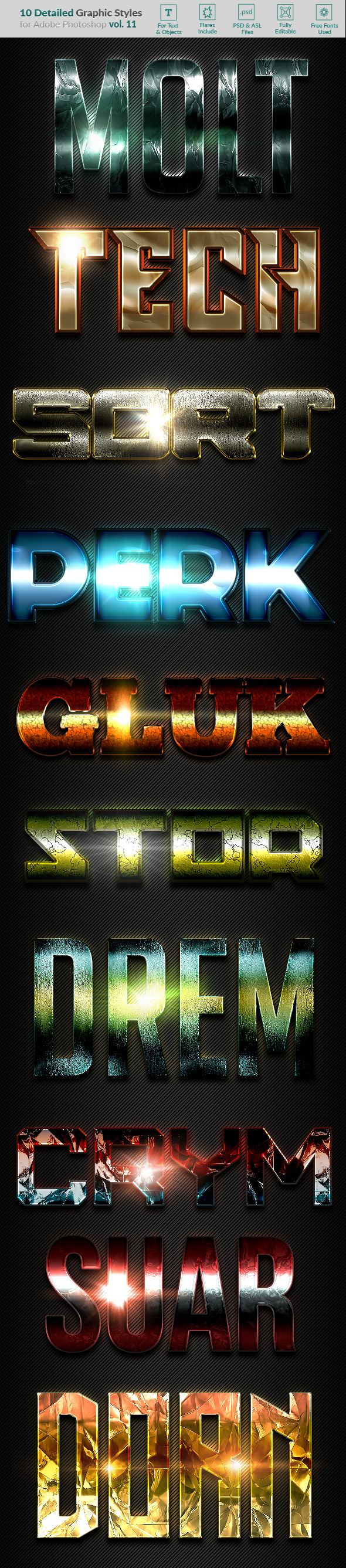 10 Text Effects Vol. 11 - Styles Photoshop