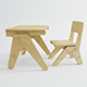 Vray Ready Wooden Chair with Table