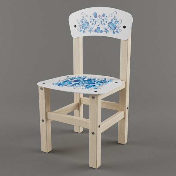 Vray Ready Wooden Children Chair - 3DOcean Item for Sale