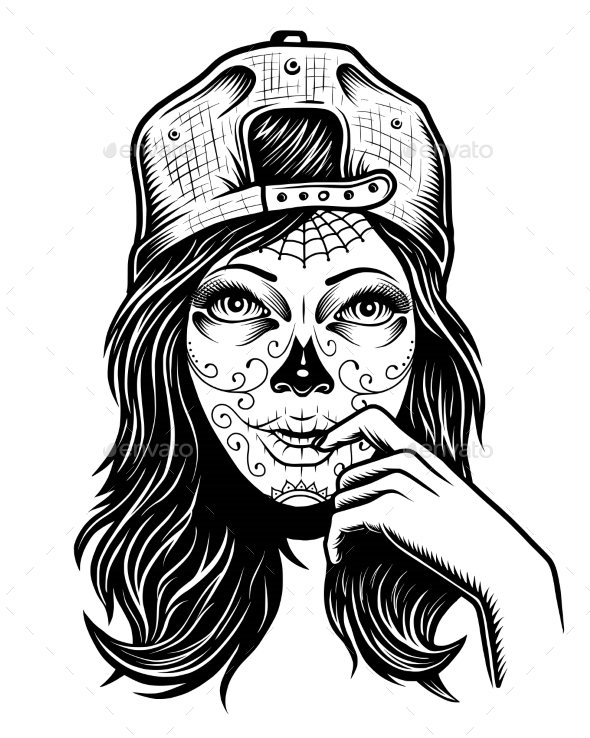 Illustration of Black and White Skull Girl - Miscellaneous Characters