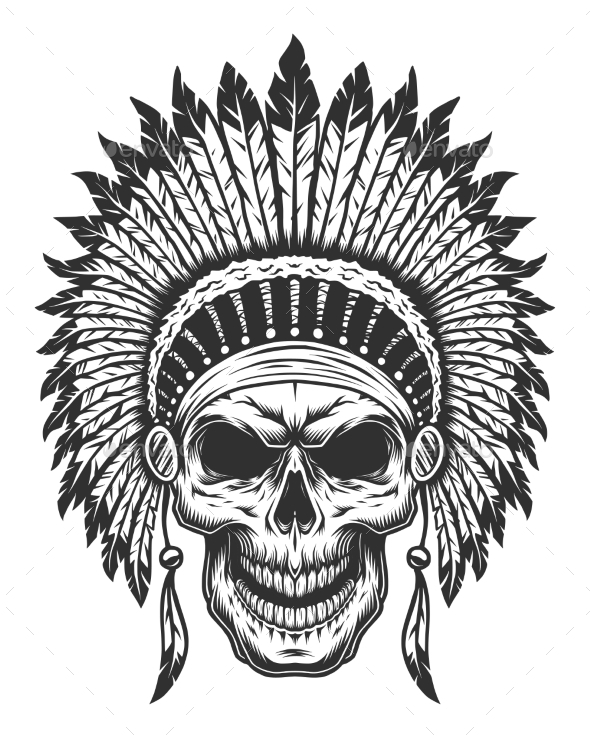 GraphicRiver Skull of American Indian 20317660