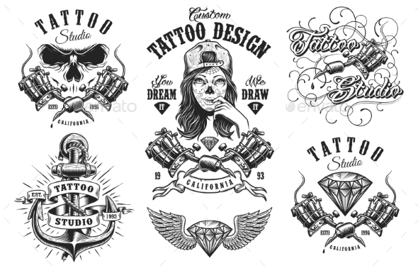 Set of Vintage Tattoo Emblems - Animals Characters