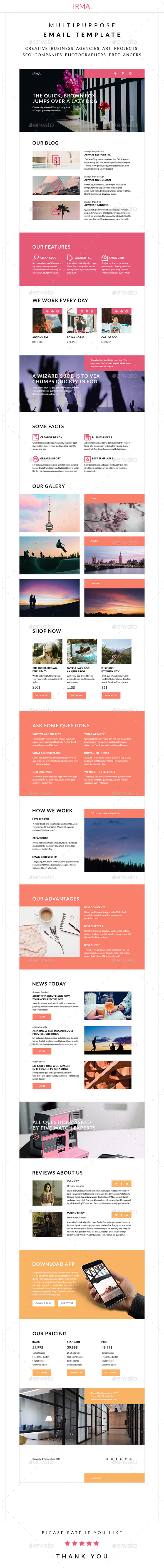 Irma – Multipurpose Email Template - E-newsletters Web Elements