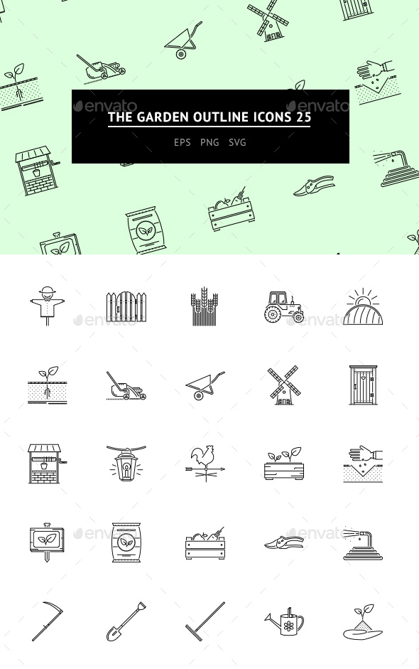 The Garden Outline Icons 25 - Icons
