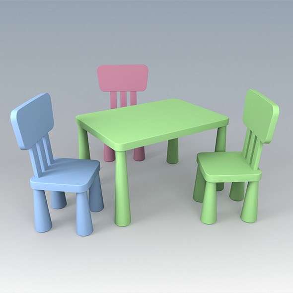 3DOcean Vray Ready Children Plastic Chair with Table 20317905