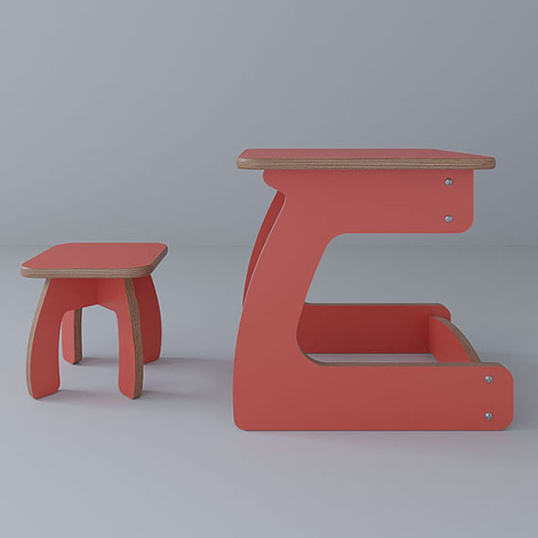 Vray Ready Study Chair with Table - 3DOcean Item for Sale