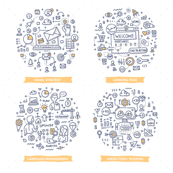 Marketing Automation Doodle Illustrations Set 1 - Web Technology