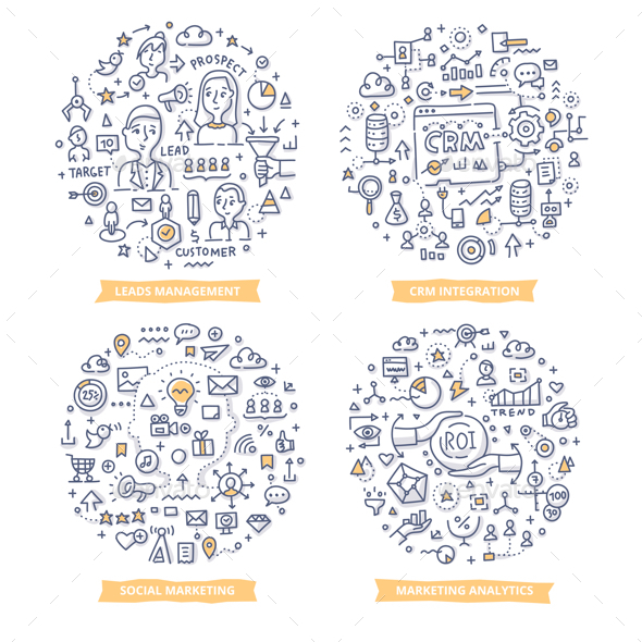 Marketing Automation Doodle Illustrations Set 2 - Web Technology