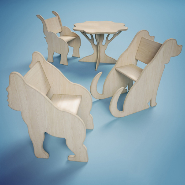 Vray Ready Modern Wooden Children Chair Collection - 3DOcean Item for Sale