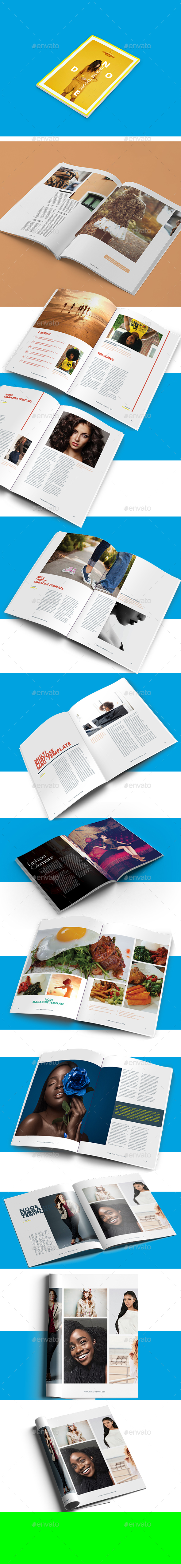 Node Minimalist Magazine Design Template / Layout - Magazines Print Templates