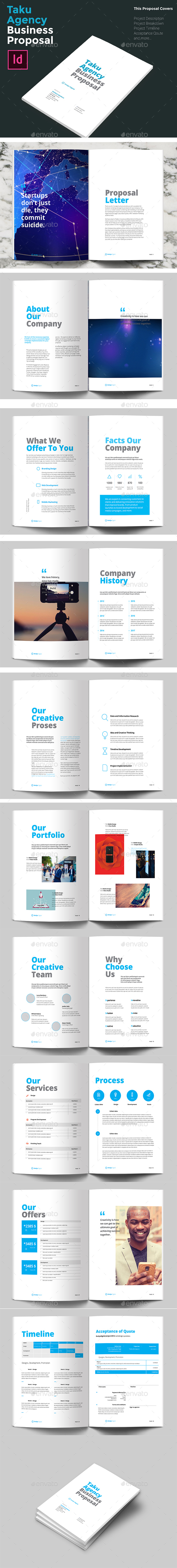 Taku Clean Agency Business Proposal Brochure - Proposals & Invoices Stationery