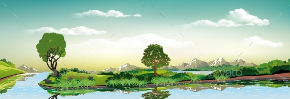 Panorama of Nature - Green Island on the Lake - Landscapes Nature